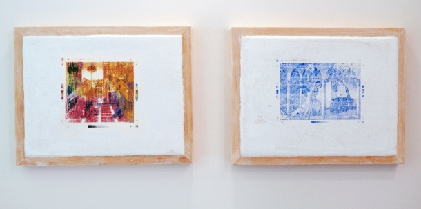 "Christopher Carroll, Untitled Fresco Panel 1 (Botticelli ) & 2 (Fra Angelica), fresco and raw pigment, 14.5"" x 18.5"" each, 2013"