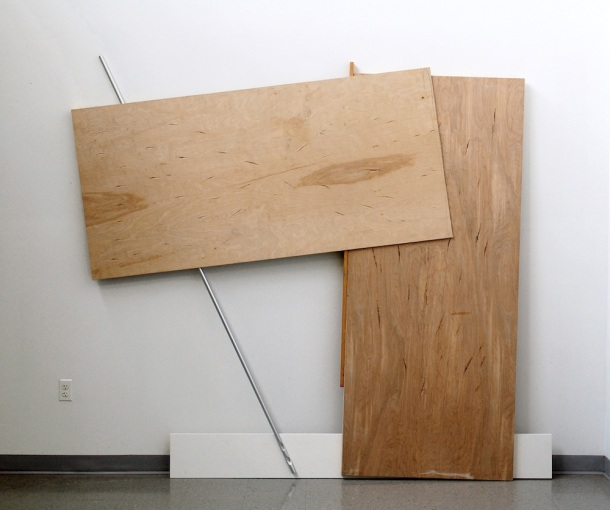 """Penn Young, You're My Hero Willie Sutton, hollow core doors, wood, plywood, acrylic on wood, aluminum pole, steel screws 88.5"""" x 100"""" x 6"""", 2012."""