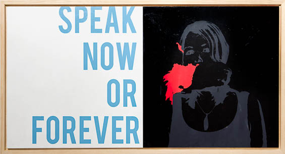 "Kristin Bauer, Speak Now, acrylic and aerosol on panel, 24"" x 48"" x 2.5"", 2013."