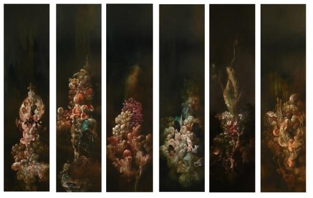 """Nicole Duennebier, Hydnellum Myriorama, acrylic on 6  individual panels, 48""""x12"""" each, 2013"""