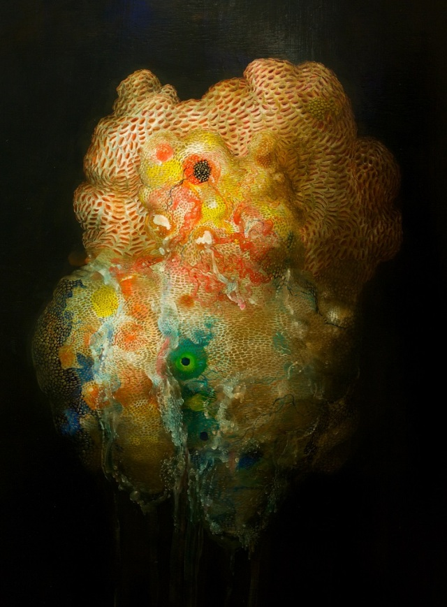 Tunicate and Golden Sac, 48x30, acrylic on panel, 2014