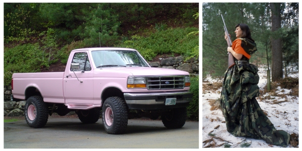 (Left) Sugar, Modified F150 pickup truck and cast silicone accessories, 4000 lbs, 2000. (Right) ain't she sweet...Hunting to Kill, Sewn parachute nylon, documentation of feminine hunting attire from the series based off a constructed alter ego and various feminized hunting paraphernalia, 2000.