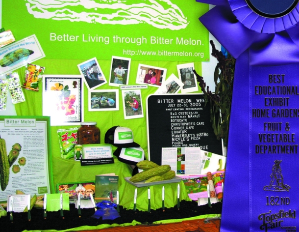 The National Bitter Melon Council, view of the 2007 prize-winning installation in the Fruit and Vegetable Barn at the Topsfield Fair, Topsfield, MA.