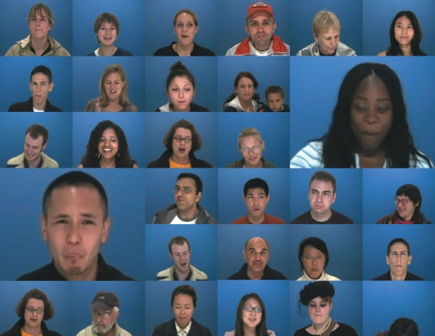 """An array of facial expressions after eating a piece of Bitter Melon, from the 2004 participatory project """"Bitter Sweet Taste Test"""" by The National Bitter Melon Council."""
