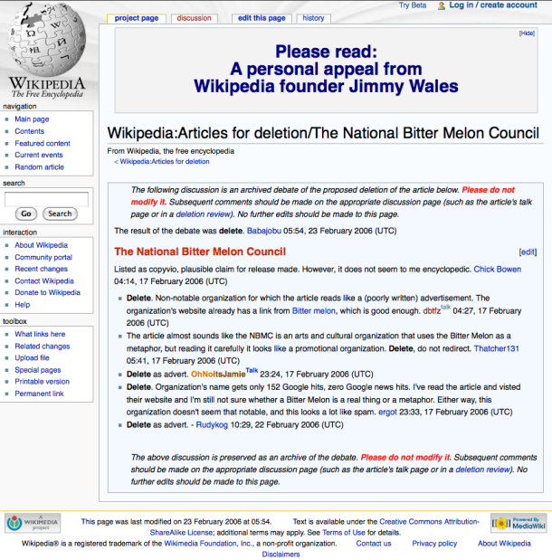 The NBMC Enters/Exits Wikipedia, a National Bitter Melon Council Intervention, 2008. (screenshot)