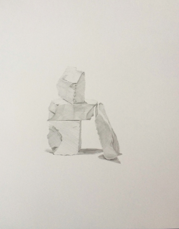 "Brad Nelson, The Construction of Believable Things #13, graphite on paper, 14""x11"", 2014."
