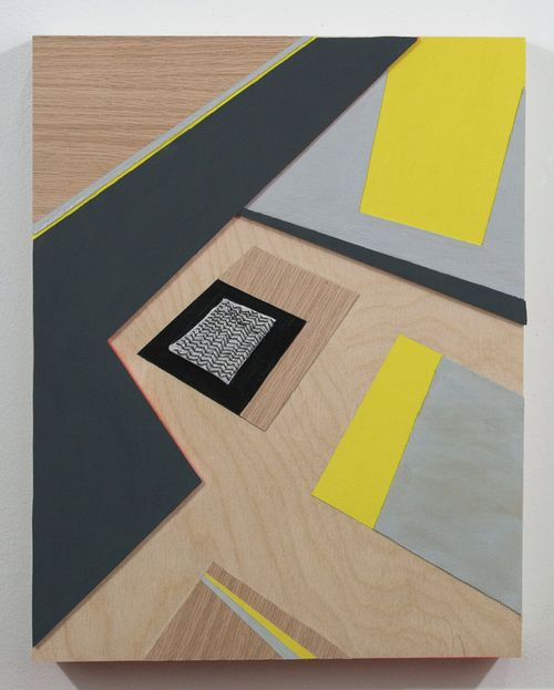 "Sara Jones, Coincidental Monument acrylic, veneer and embroidery on panel, 14"" x 11"", 2013."