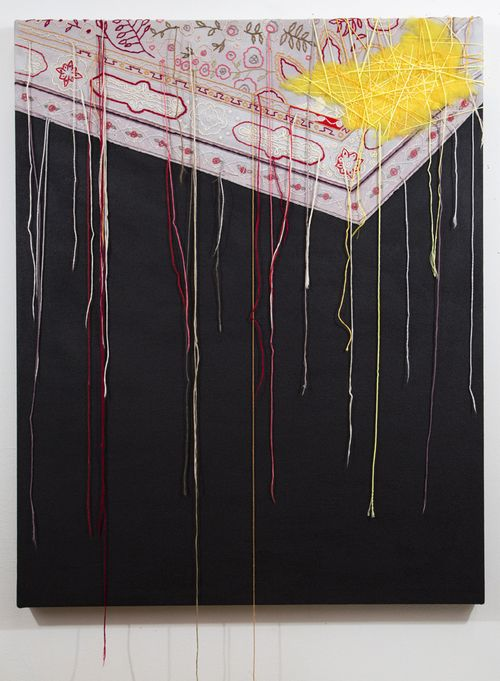 "Sara Jones, It Was There, acrylic and thread on canvas, 30"" x 24"", 2013."