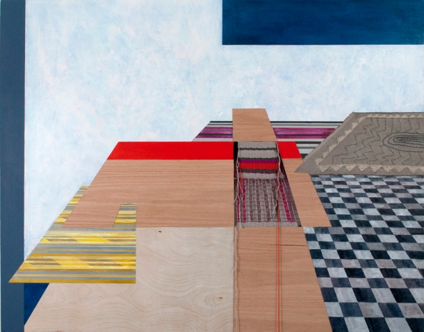 "Sara Jones, Outside Perspective, acrylic, gouache, veneer, thread, and hand-embroidered linen on panel, 32"" x 40"", 2014."
