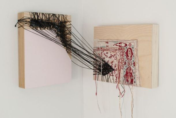 "Sara Jones, Perhaps it is Done Already, acrylic, thread, and muslin on panel, 10"" x 12"" x 14"", 2012."