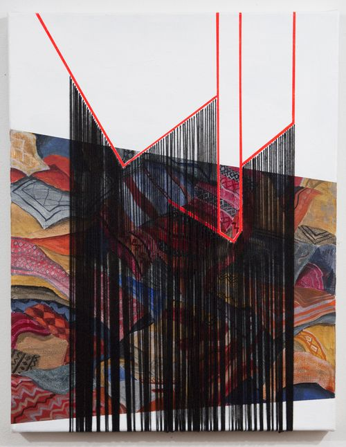 "Sara Jones, Speak of the past, thread and acrylic on linen, 14"" x 11"", 2013."