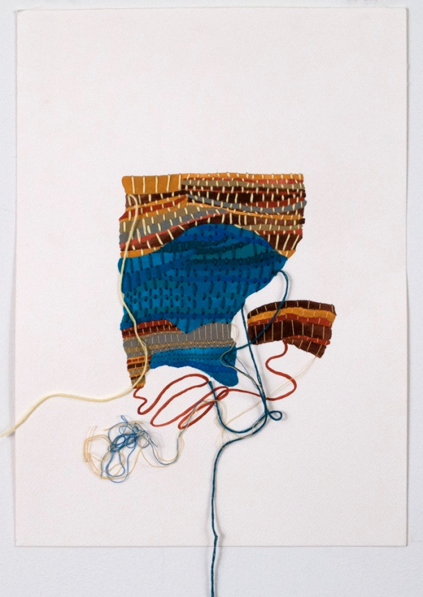 "Sara Jones, Woven, gouache and thread on paper, 15"" x 11"", 2014."